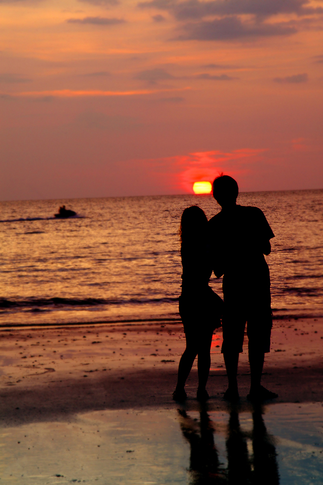 Cute Cartoons Couples Wallpapers Sunset Loving Couple