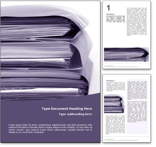 Royalty Free Document Management Microsoft Word Template In Purple