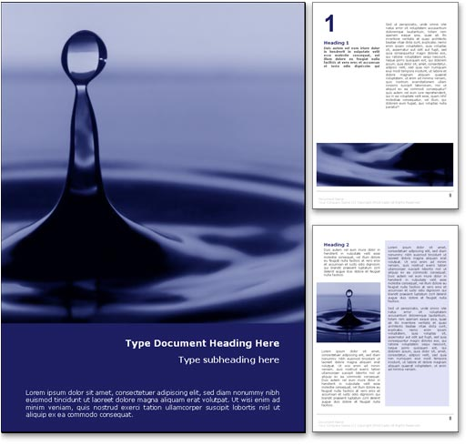 Royalty Free Drop in the Ocean Microsoft Word Template In Blue
