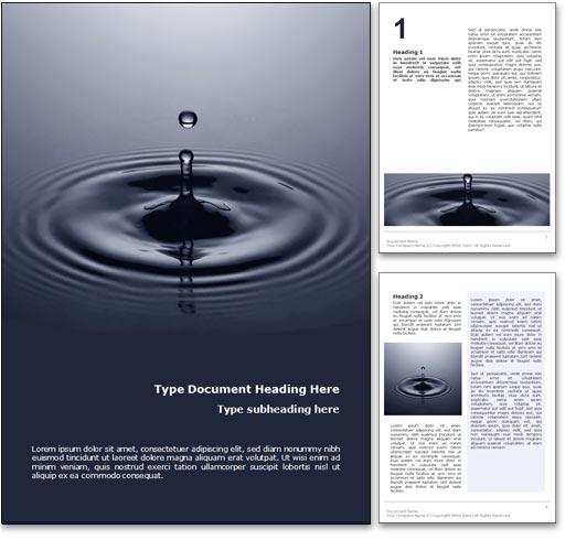 Royalty Free Water Drop Microsoft Word Template In Blue