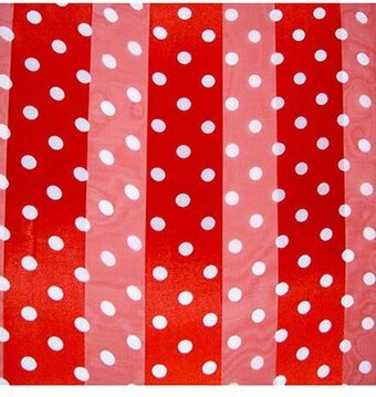 Red and White Polyester 21x21 Satin Stripe Polka-Dots Scarf - stripes with polka dots