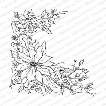 Impression Obsession Poinsettia Sketch Christmas - Cling Rubber