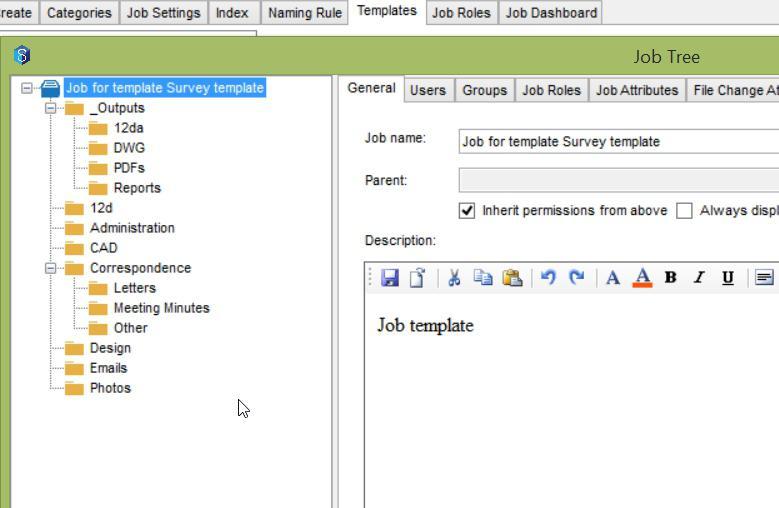 12d Synergy Job Templates - 12d Synergy