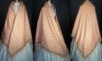 Victorian Pink Challis Wool Roller Print Paisley Shawl
