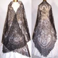 Victorian Civil War Antique Black Chantilly Lace Large ...