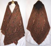 Victorian Antique Jacquard Hand Loom Wool Black Star ...