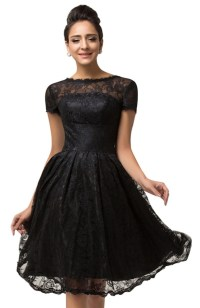 Vivien Black Lace Cocktail Dress | 1950sGlam