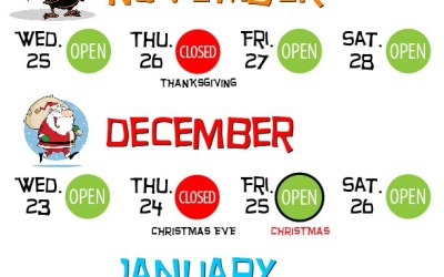 2015 HOLIDAY SCHEDULE (3rd time is a charm)