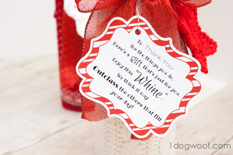 Wine and Whine Gift with Sock Gift-Wrapping and Printable - One Dog Woof