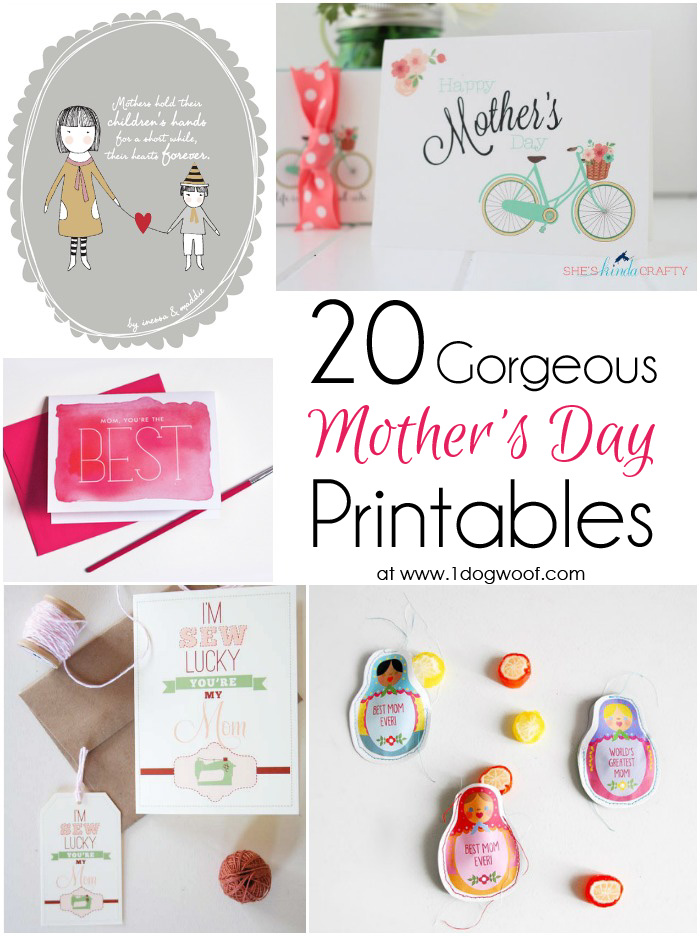 20 Gorgeous Mother\u0027s Day Printable Gifts, Tags and Cards Friday