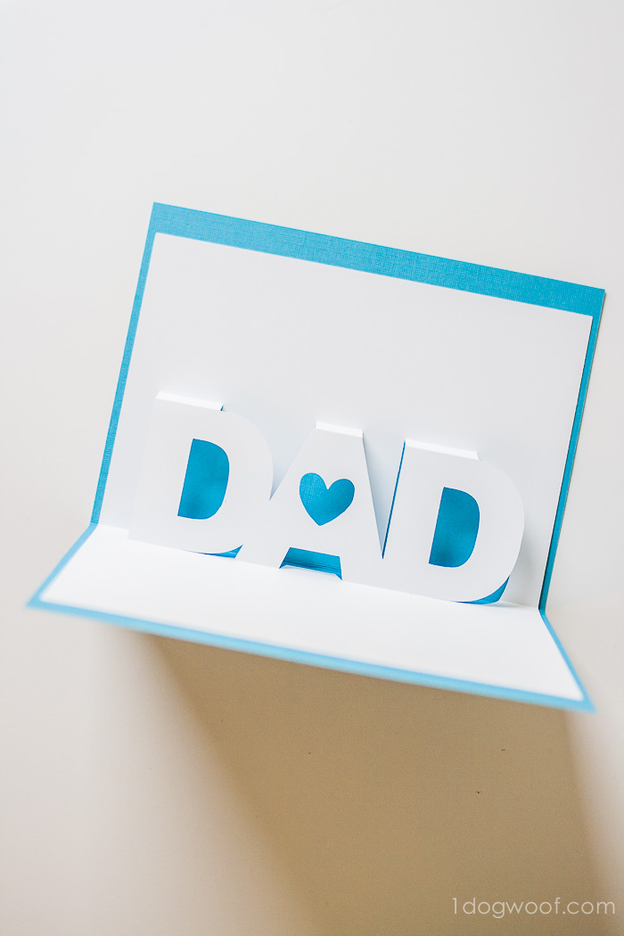 Father\u0027s Day Pop-Up Card with Free Silhouette Templates - One Dog Woof