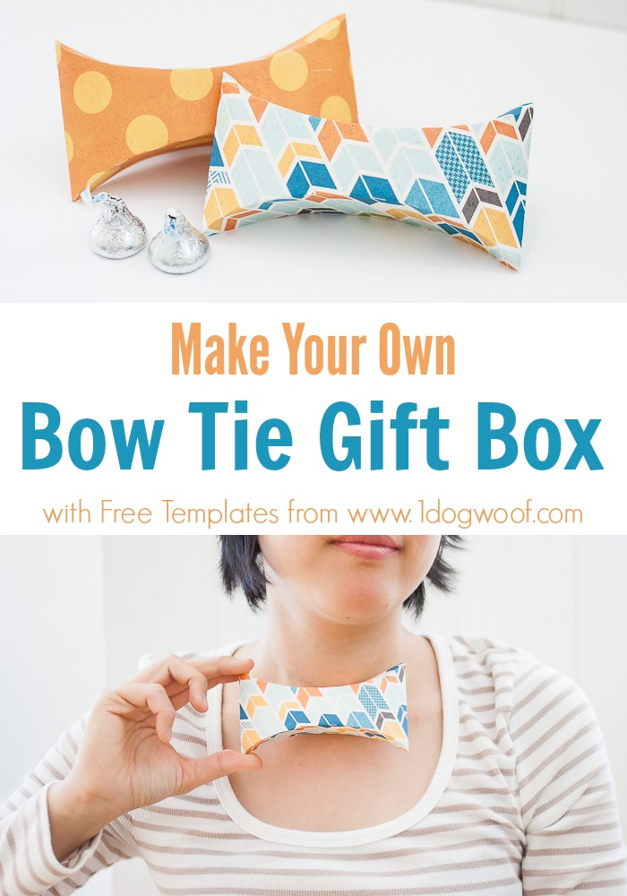 Bow Tie Gift Box with Free Templates - One Dog Woof - gift box template free