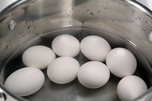 Fill pot with just enough water to cover eggs