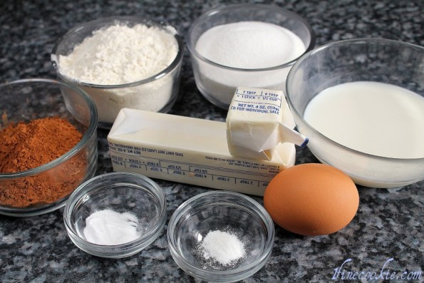 Butter, sugar, cocoa powder, egg, vanilla, flour, baking powder, baking soda, milk,