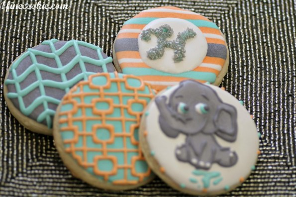Baby Shower Cookies, decorated, custom, made, handmade, preppy, print, chevron, zig zag, zig-zag, elephant, white, silver, gray, grey, aqua, turquoise, blue, teal, orange, sherbet, coral, light, pastel, design, chevron, garden, garden fence, print, stripe, monogram, elephant, baby, cartoon, children, shower, party, birthday,