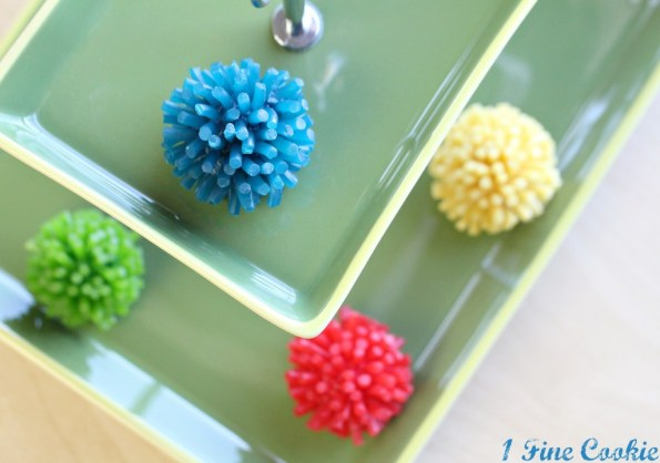 Edible pom-pom cake pops by 1 fine cookie, pom pom, cake pop, football cake pops, football, food, superbowl, tailgating, cheerleader, football player, party, theme, idea, high school, nfl, college, team, truffles, bites, cookie dough, sports,