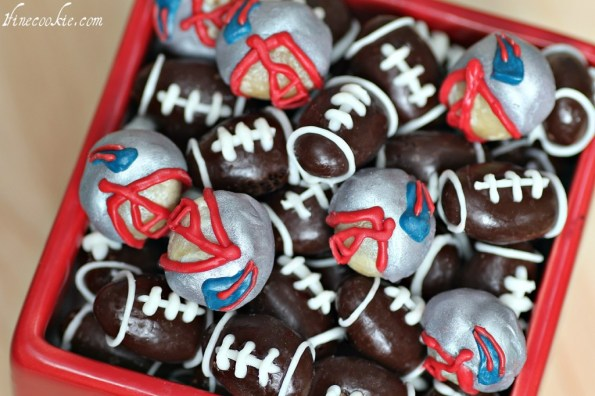 Patriots Nuts by 1 Fine Cookie  superbowl football snacks recipe party ideas almond chocolate white candy melts macadamia nuts tailgate tailgating menu dessert gifts birthday theme sides candy favors 49ers ravens
