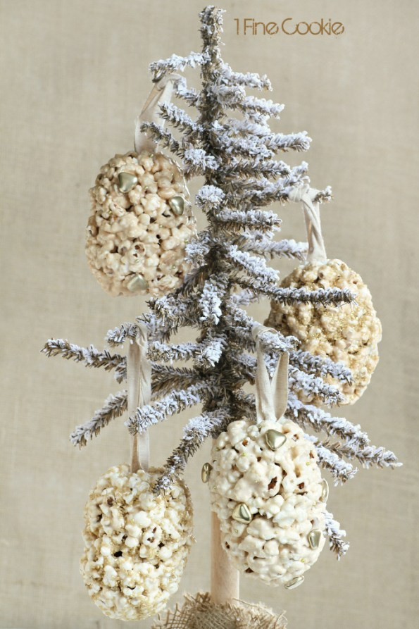 popcorn ball holiday ornaments by 1 Fine Cookie,  flavored, popcorn, ball, treats, ornaments, hollow, filled, treat, hanging, gold, silver, holiday, thanksgiving, new year's eve, new years, christmas, hanukkah, edible, cute, ideas, party, theme, craft, diy, pretty, tips, how, to, make, do it yourself, recipe, recipes, sweet, chocolate, caramel, vegetable saver, uses, gelt, paper, chocolate, candy, toy, trinket,