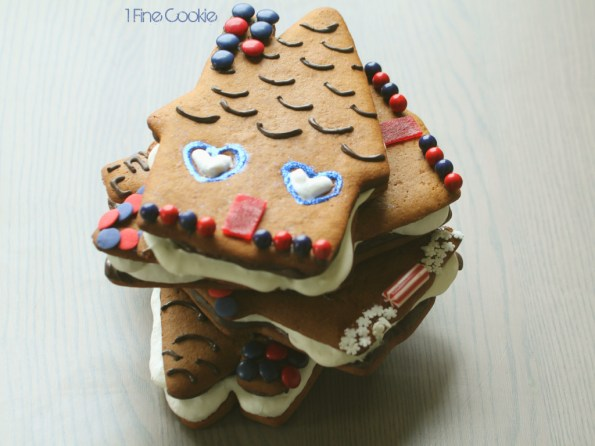 Gingerbread S'more Houses by 1 Fine Cookie, piping, boozy, rum, infused,