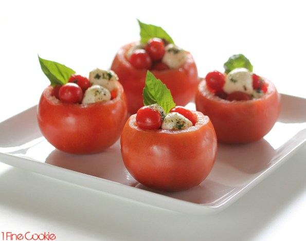 mozzarella tomato cups by 1 Fine Cookie, Tomato, mozzarella, cups, bowl, appetizer, healthy, recipes, recipe, balls, cherry, large, basil, balsamic, vinaigrette, oil,  ideas, finger, food, portable, new, year's, resolution, diet, olive, basil, herbs,  scoop, how to, pulp, inside, stuffed, Italian,