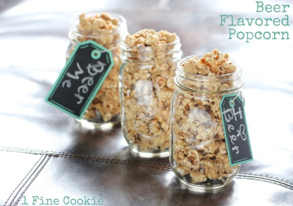 Beer Flavored Popcorn by 1 Fine Cookie, guinness, popcorn, beer, caramel, recipe, saint, patrick's, patty's, day, green, sprinkles, snack, idea, food, dessert, candy, dark, beer, infused, sugar, homemade, flavored, father's, day, sports, irish, green, gift, mason, jar, barrel, man, men, manly,