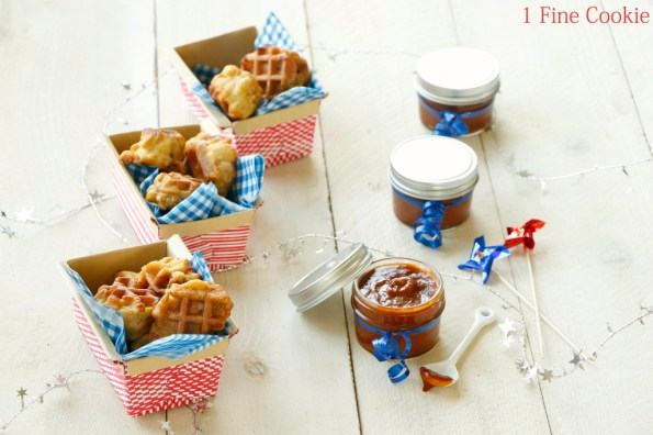 Chicken and Waffle Wings with Dr. Pepper BBQ Sauce Recipe by 1 Fine Cookie, chicken, waffle, wings, batter, syrup, maple, dr. pepper, homemade, barbecue, sauce, crispy, southern, drumsticks, copycat, fourth, july, 4th, independence, day, holiday, summer, party, table, ideas, cute, pretty, unique, spicy,