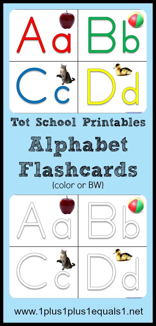 Tot School Printables ~ ABC Flashcards - 1+1+1\u003d1