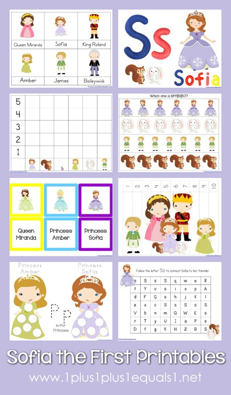 Sofia the First Printables - 1+1+1\u003d1