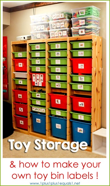 Toy Organization ~ How to Make Your Own Labels - 1+1+1\u003d1