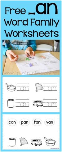 AN Word Family Beginning Sound and Matching Worksheets - 1 ...