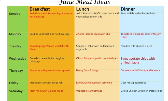 Download Monthly Meal Plans - 1Qfoodplatter Nigerian Food Blog