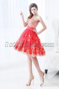 Pretty Red Short Vestidos de Quinceanera:1st-dress.com