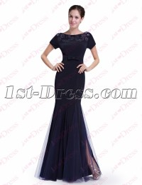 Classic Navy Blue Sheath Prom Dress with Short Sleeves:1st