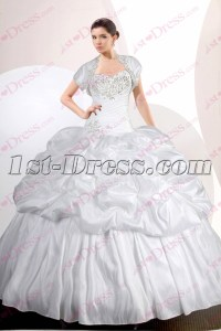 2017 White Quinceanera Dress with Short Jacket:1st-dress.com