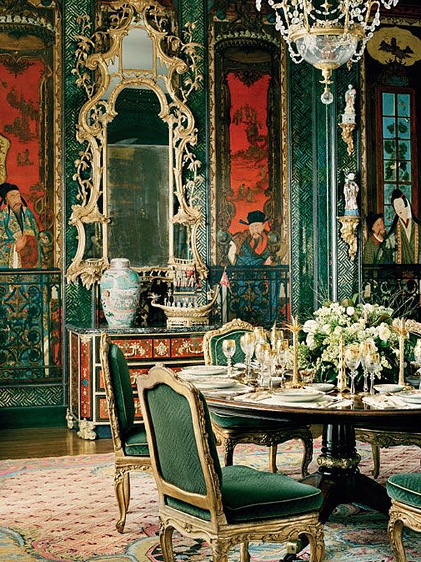 Black Floral Wallpaper Modern Chinoiserie In Interior Design