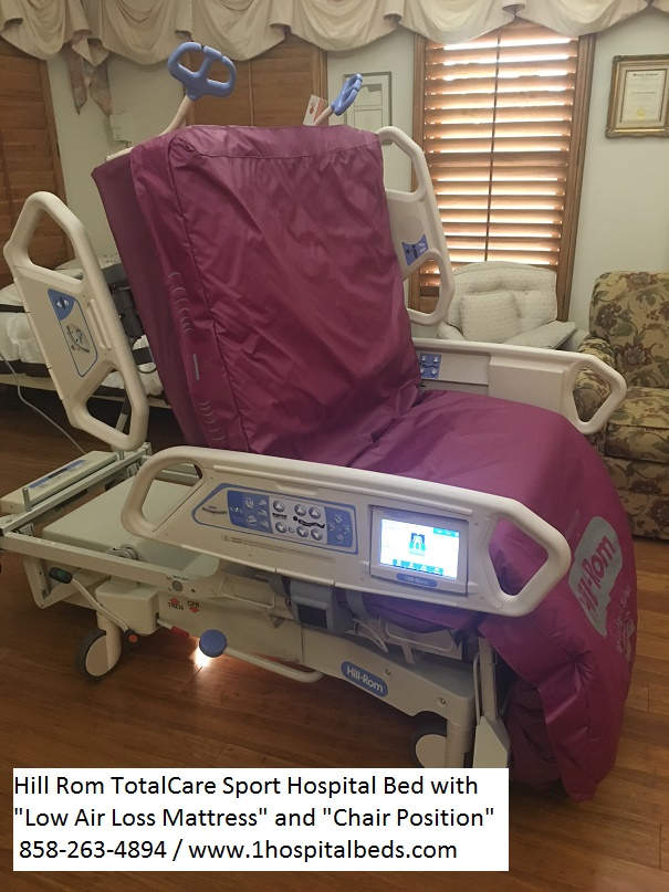 Hill Rom P1900 TotalCare Sport 2 Hospital Bed chair position and low air loss mattress