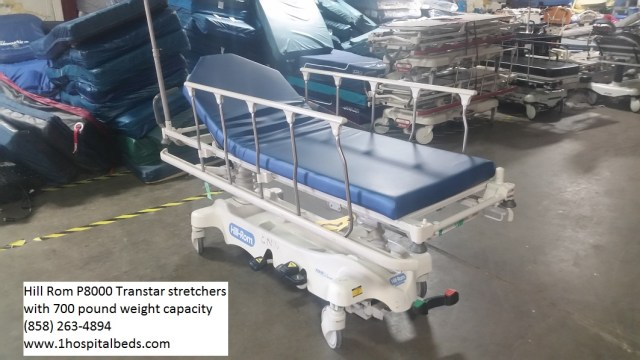 Hill Rom P8000 Transtar stretcher for sale reconditioned refurbished - comes with a 500 and 700 pound weight capacity - durable and reliable! ORDER 858-263-4894