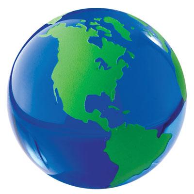 Glass World Globe Paperweight