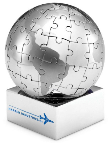 Stainless Steel Magnetic World Globe Puzzle