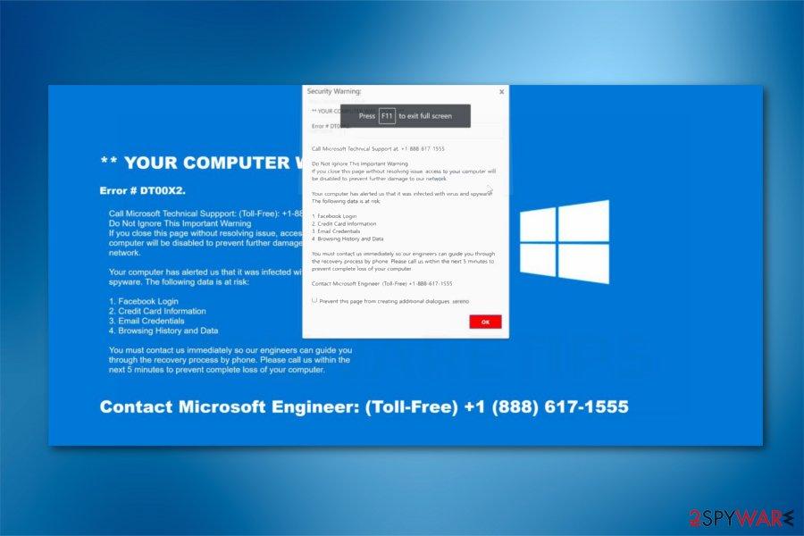 Remove Error DT00X2 (Microsoft Support Scam) - Removal Guide