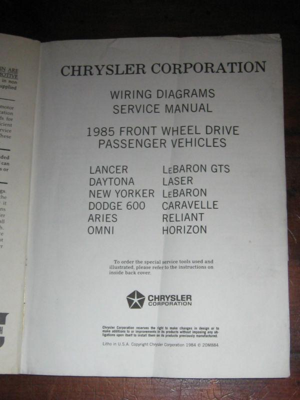 Find 1985 Plymouth Dodge Chrysler Factory Wiring Diagram Manual