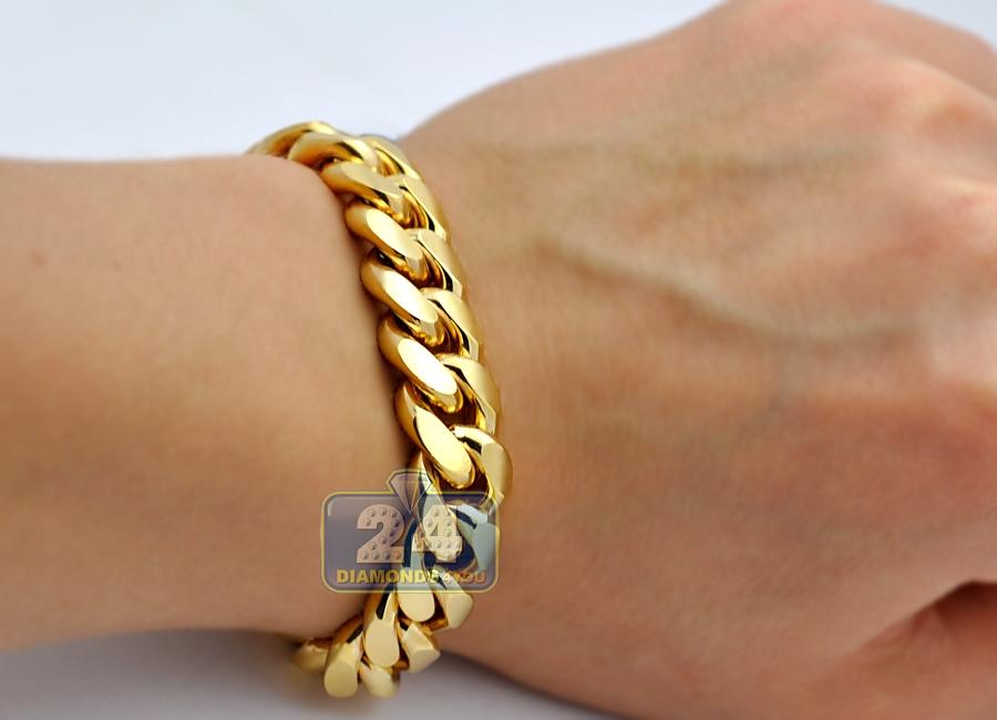 Solid 10k Yellow Gold Miami Cuban Link Mens Bracelet 13mm 9quot