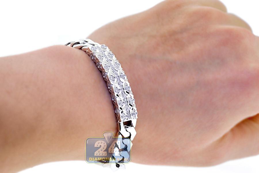 Mens Diamond Cuban Link Id Bracelet 18k White Gold 080 Ct 8quot