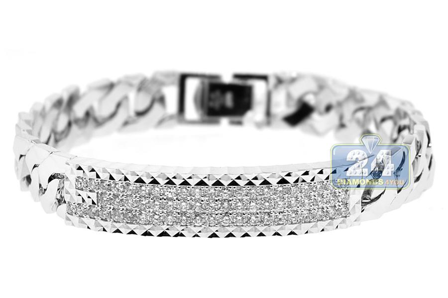 Mens Diamond Cuban Link Id Bracelet 18k White Gold 195 Ct 8quot