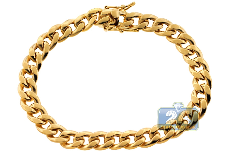 10k Yellow Gold Hollow Miami Cuban Link Mens Bracelet 8mm
