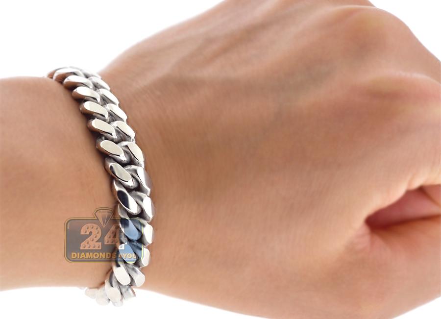 10k White Gold Miami Cuban Solid Link Mens Bracelet 10 Mm