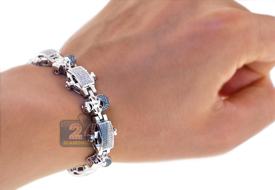 14k White Gold 210 Ct Blue Diamond Link Mens Skull