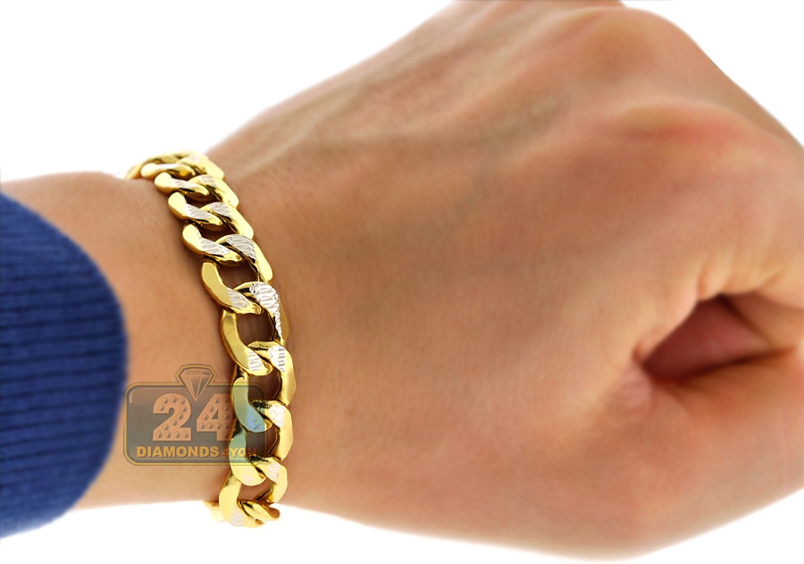 10k Yellow Gold Diamond Cut Cuban Mens Link Bracelet 11mm 9quot