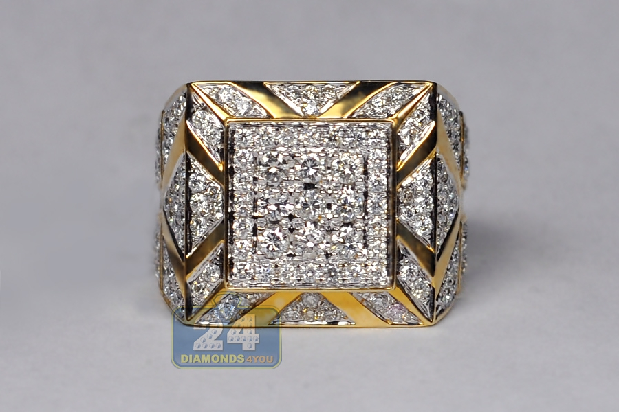 Mens Diamond Large Square Pinky Ring 14k Yellow Gold 369 Ct