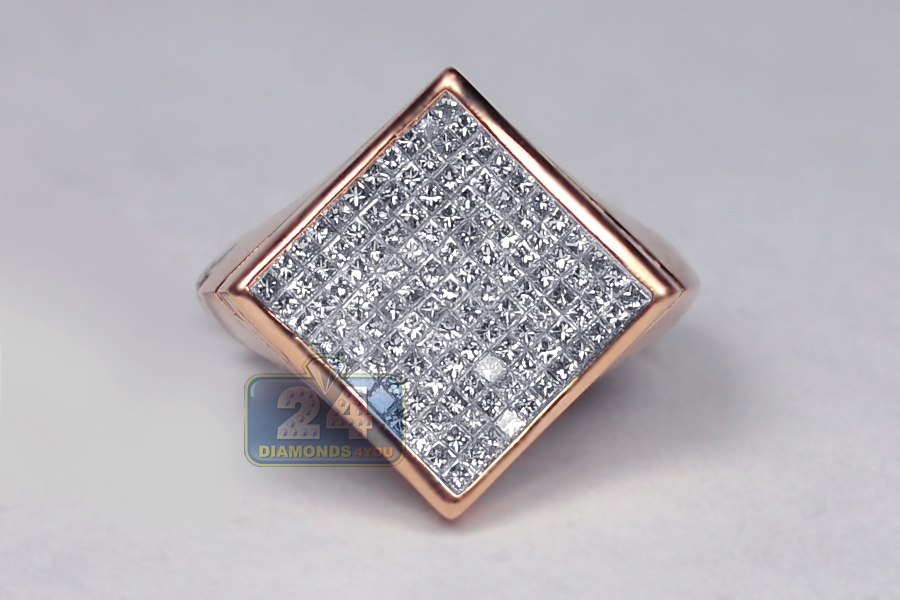 Mens Princess Diamond Square Pinky Ring 14k Rose Gold 137 Ct
